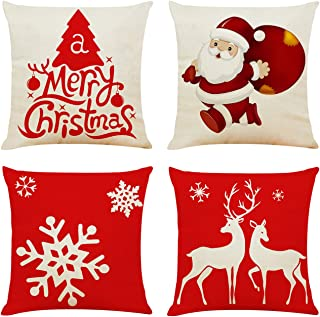 Ogrmar 4PCS 18x18 Throw Pillow Covers Christmas Decorative Couch Pillow Cases Cotton Linen Pillow Square Cushion Cover for Sofa, Couch, Bed and Car