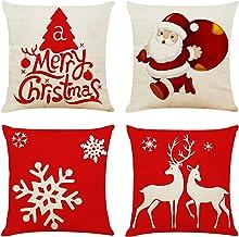 4 قطع 18 بوصة × 18 بوصة أغطية وسائد أريكة زينة عيد الميلاد أغطية وسائد من القطن الكتان وسادة مربعة غطاء وسادة للأريكة والأ...