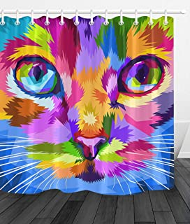 youyoutang Bathroom Waterproof Fabric Shower Curtain Set Cute Cat Colorful Big Eyes 3D High-Definition Printing Does Not Fade 12 Shower Hooks 70.8X70.8 Inch Home Decor Bathroom Accessories
