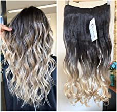 Thick One Piece Ombre Clip in Hair extensions Long Wavy Curly Synthetic Hairpieces (Col. darkest brown/sandy blonde) DL