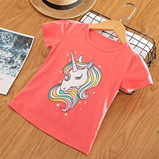 Nobrand Kids Summer T Shirt Happy Days Girl Unicorn Face Print Children's T-Shirt Baby Girls Funny Clothing Baby Girl Tops Tees Clothes