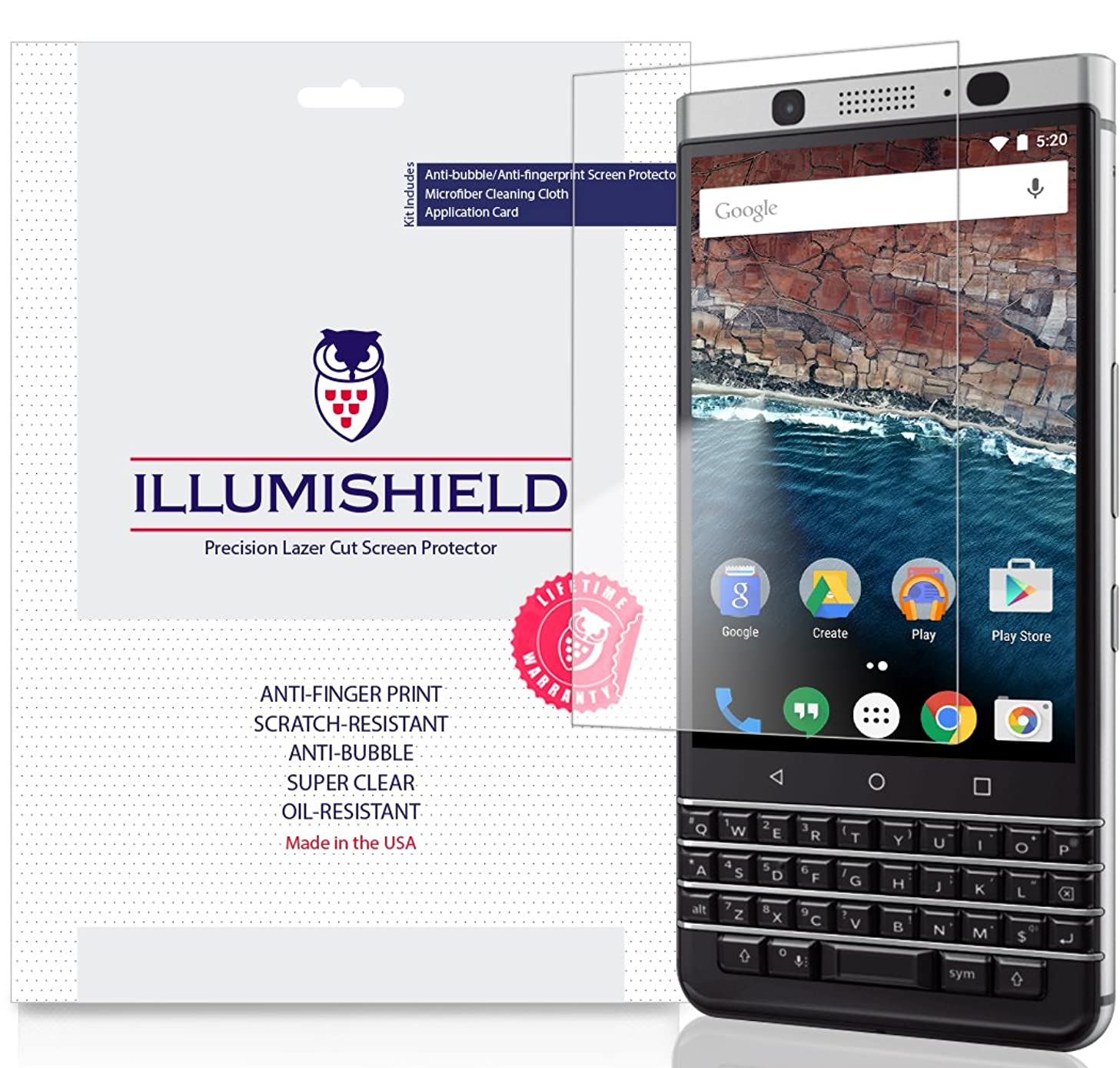 BlackBerry KEYone Screen Protector [3-Pack], iLLumiShield Screen Protector for BlackBerry KEYone Clear HD Shield with Anti-Bubble & Anti-Fingerprint Film