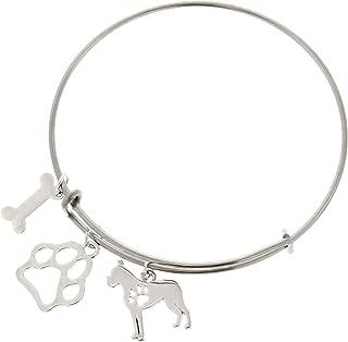Best Dog Mom Ever Dog Breed Dog Paw Gift Adjustable Bangle Charm Silver-Tone Bracelet Jewelry Box