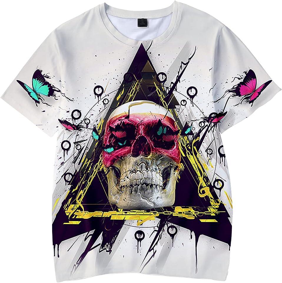 Ghost Skull Rider Kids 3d Hip Hop Shirt Unisex Crewneck T-Shirt Short Sleeve Shirts Print For Youth Girls, Boys