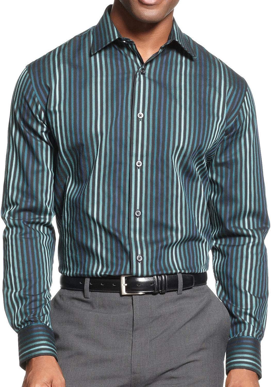 Alfani Men's Black Striped Button Down Shirt