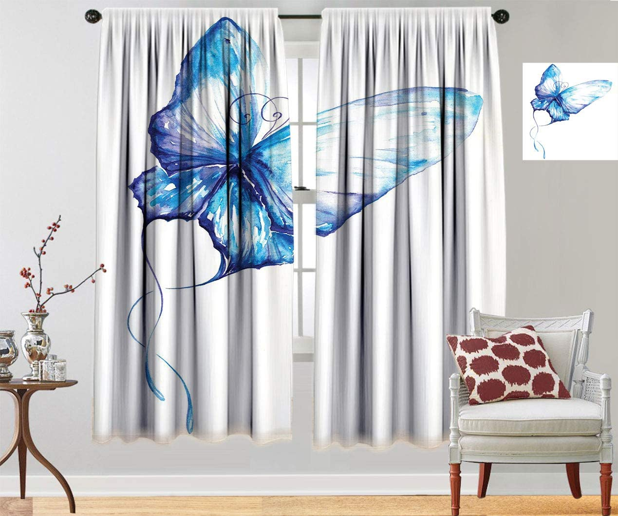 Now on sale Watercolor Thermal Insulated Curtains Hand Style But Drawn Max 68% OFF Blue