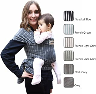 Hatched! Soft Breathable Natural Cotton Baby Sling Wrap Carrier - Soft & Comfortable - Lightweight Carrier Suitable for Infants - Breast Feeding Cover - Stripes (Dark Grey)