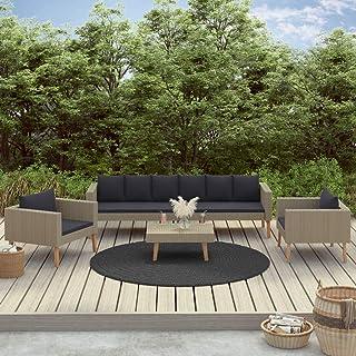 FAMIROSA Set de Muebles de jardín 4 pzas y Cojines ratán sintético Beige (52kg)-9326