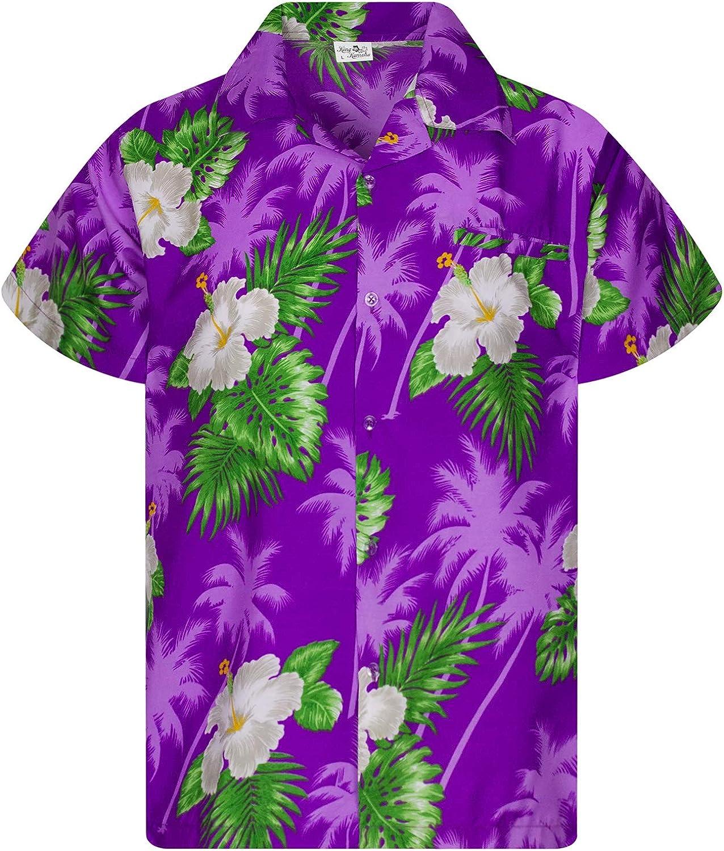 KING KAMEHA Funky Casual Hawaiian Shirt Kids Boys Girls Front Pocket Very Loud Shortsleeve Unisex Flower Print 2-14 Years
