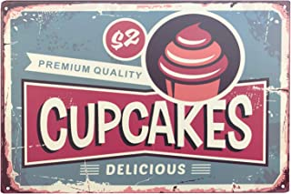 UNIQUELOVER Kitchen Wall Decor, Funny Food Sign, Delicious Premium Cupcakes Tin Sign Retro Vintage Metal Plaque Poster for Cafe Bar Pub Beer Club Home Wall Decor Art 12 x 8 Inches / 30 x 20cm