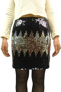 Casual 80s Sequin Short Mini Skirt Costume Street Style Work Aztec