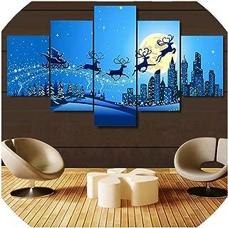 Wall Art Canvas Simple Canvas Painting Print Home Decor Wall Art 5 Pcs Christmas Modular Hang Picture Poster Artwork,30X40 30X60 30X80Cm,No Frame