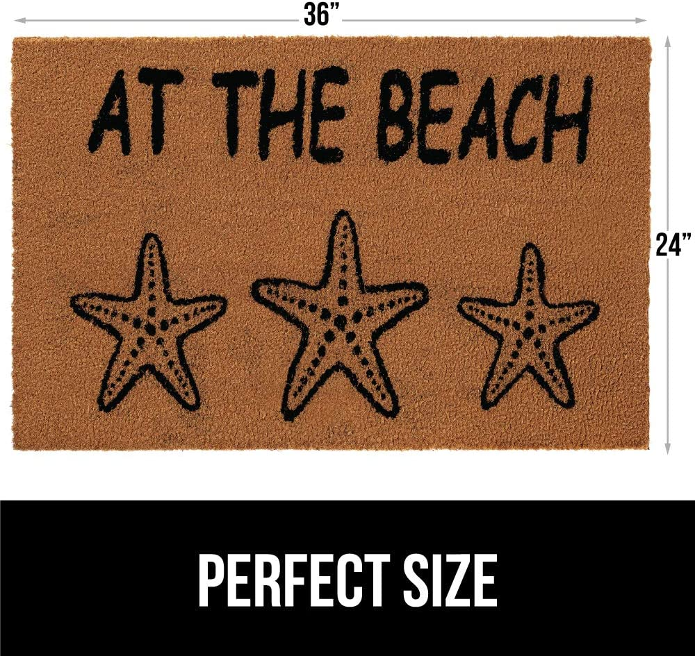 24x16 Easy Clean Classic Low Maintenance Low-Profile Boardered Mats for Entry Gorilla Grip Premium Durable Coir Door Mat Thick Heavy Duty Coco Doormat for Indoor Outdoor High Traffic Areas
