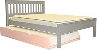 Bedz King Mission Style Full Bed with a Pink Twin Trundle, Gray