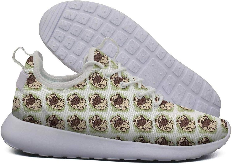Unjdahsdd Cute Pug Pattern Background Women's Sport Athletic Running Sneaker Lightweight Breathabl Athletic shoes