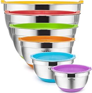 6 Pcs Stainless Steel Mixing Bowls with Lids,YIHONG Metal Nesting Mixing Bowls Set for Mixing, Baking,Serving,Food Prep, S...