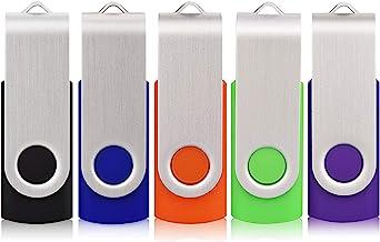 5 Pack 32GB Flash Drive, USB 2.0 Swivel Thumb Drives Bulk...