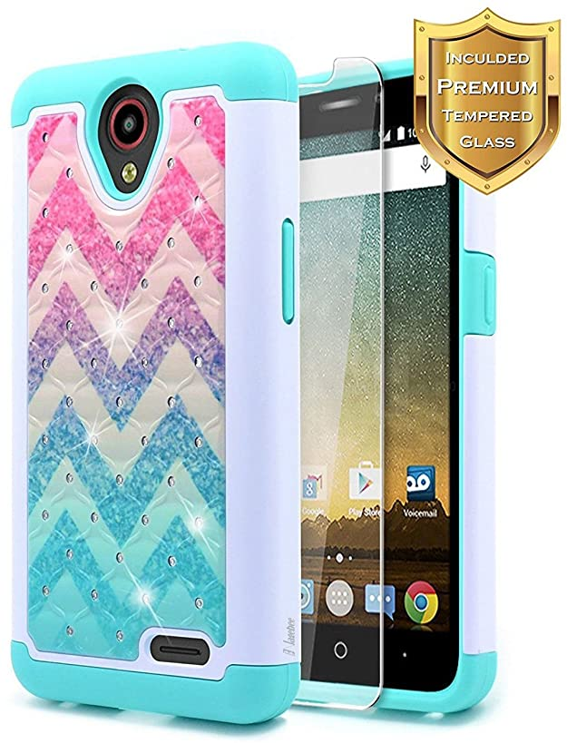 NageBee [Hybrid Protective] Soft Cover [Studded Rhinestone Bling] Diamond Case with [Tempered Glass Screen Protector] for ZTE Maven 3 (Z835 AT&T), ZTE Overture 3, ZTE Prelude Plus Case(4G LTE) -Wave