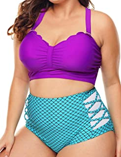 Womens Two Piece Swimsuits Plus Size Mermaid Swimsuit High Waist Swimwear Bikini Set Bathing Suit