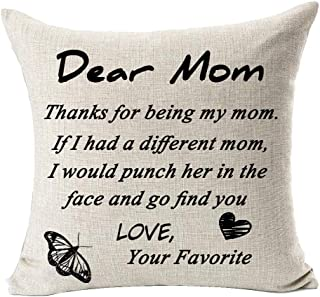 Andreannie Best Mom Gift Thanks for Being My Mom Cotton Linen Decorative Throw Pillow Cover Cushion Case 18 inches Square B