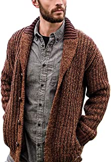 VerOut Men's Shawl Collar Cardigan Sweater Slim Fit Cable Knit Button up Cotton Sweater with Pockets,Yellow,5XL