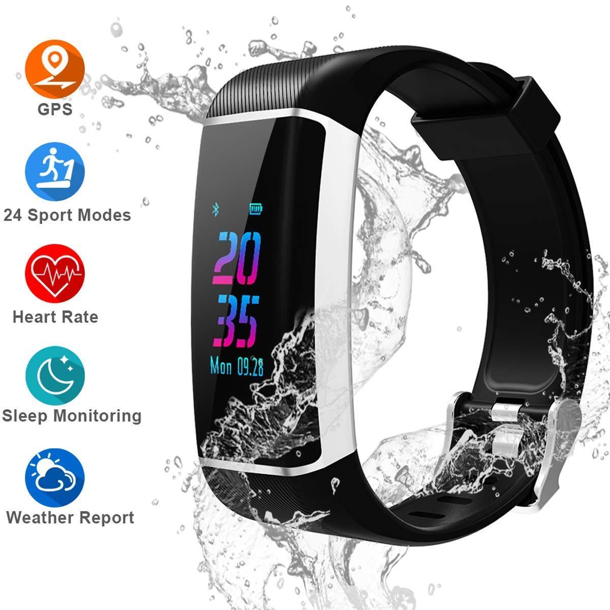 Pulsera Actividad GPS, 24 modos deportivos Monitor Pantalla Color monitor de ritmo cardíaco, GPS incorporado,resistente al agua, monitor de sueño Para mujeres Hombres: Amazon.es: Salud y cuidado personal