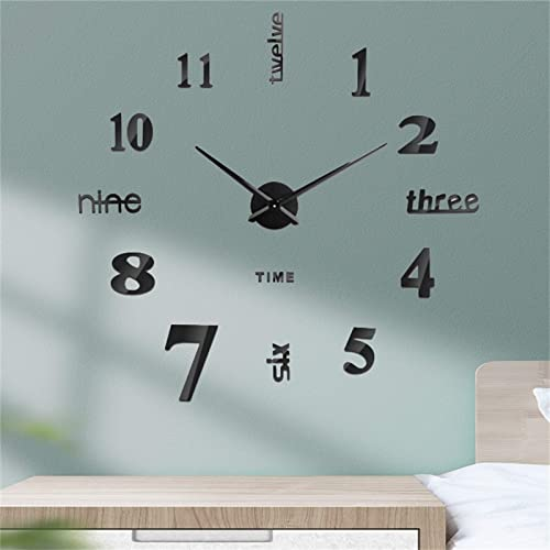 discount Frameless DIY online sale Wall sale Clock Decor 3D Mirror Wall Clock Decoration Kit Large Mute Wall Stickers for Living Room Bedroom Home Decorations (Black) outlet sale