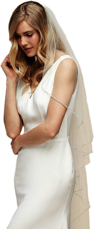 Passat Mid Length beaded ivory veil long rhinestone wedding veil sparkle crystal bridal veils 108