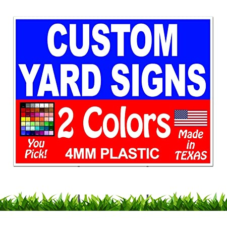 Double Sided Custom Yard Signs with Stakes 50 18x24 Full Color FREE SHIPPING