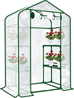 SHANGXING Walk in Greenhouse Replacement Cover with Roll-Up Zipper Door-28x56x76 in PVC Plant Gardening Greenhouse Cover f...
