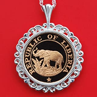 Beautiful 1978 Liberia One Cent Gem Proof Elephant Coin 925 Sterling Silver Necklace NEW - Wildlife Animal