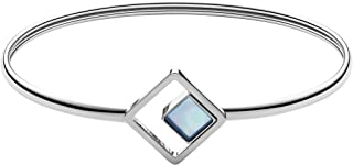 Women's Agnethe Silver-Tone Mother-of-Pearl Square Bracelet, Silver/White/Blue, Size: 0