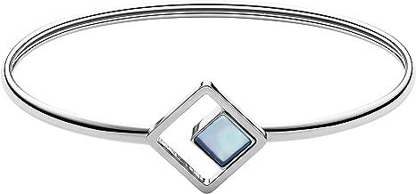Skagen Women's Agnethe Silver-Tone Mother-of-Pearl Square Bracelet, Silver/White/Blue, Size: 0