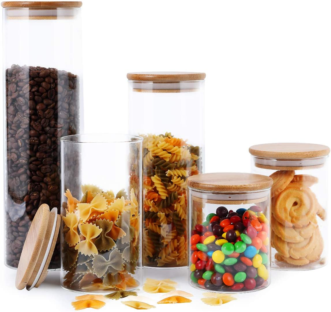 Buy Focusline 5 Pack Glass Kitchen Canister Set Clear Glass Food Storage Jars With Airtight Bamboo Wooden Lid For Flour Sugar Candy Cookie Online In Turkey B089k4w93z