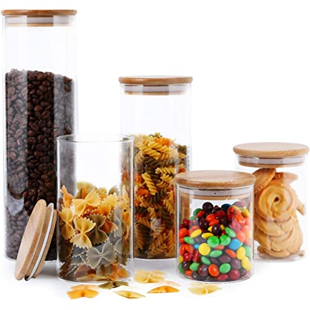 FOCUSLINE 5 Pack Glass Kitchen Canister Set, Clear Glass Food Storage Jars with Airtight Bamboo Wooden Lid For Flour, Sugar, Candy, Cookie