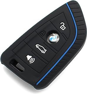 Schlüssel Hülle BE für 4 Tasten Auto Schlüssel Silikon Cover von Finest Folia (.Schwarz Blau)