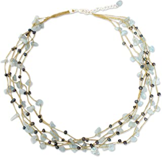 Aquamarine Dyed Cultured Freshwater Pearl Sterling Silver Strand Necklace, 21.25