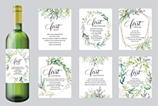 Set of 7 Greenery Wedding Milestone Wine Bottle Labels