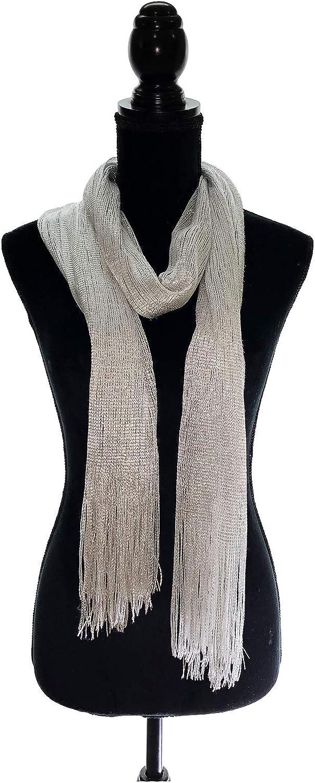 TMS Shawls and Wraps for Evening Formal Dresses Glitter Metallic Scarf Fringe Scarves Hijab Shrug