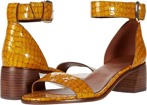 Yellow Patent Croco Print Leather