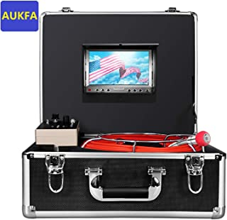Aukfa Sewer Inspection camera,Pipe Pipeline Inspection Snake cam 30m/100FT Waterproof IP68 with 7 Inch LCD Monitor and Distance Counter( 8GB SD Card)