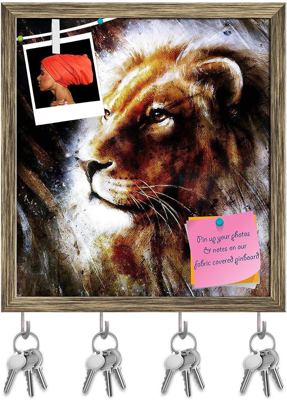 Artzfolio Lion Portrait with Bird Feathers Key Holder Hooks   Notice Pin Board   Antique golden Frame 16 X 17.4Inch