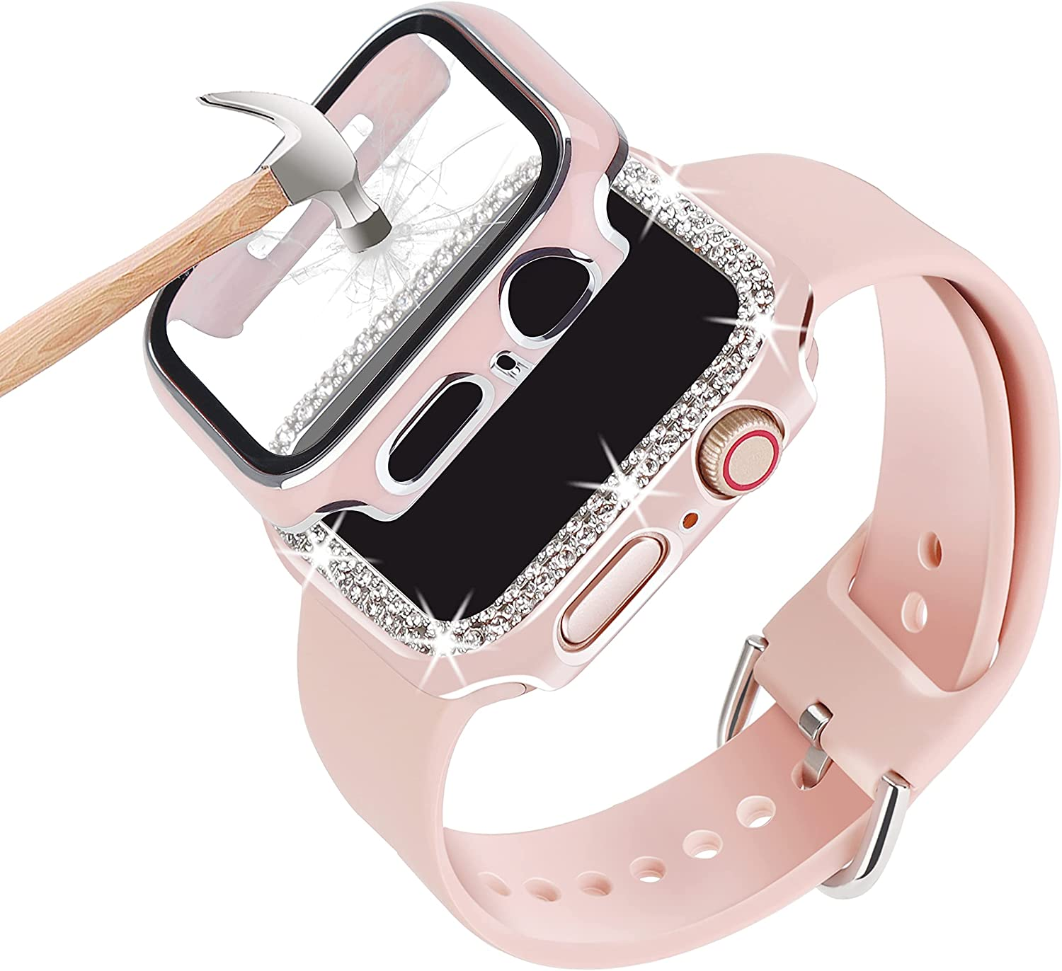 3 Pack Compatible With Apple Watch Band 38mm 40mm 42mm 44mm With Case, Women Silicone Soft Adjustable Strap with Diamond Case and Glass Screen Protector Case For iWatch Series SE 6 5 4 3 2 1