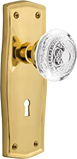 "Nostalgic Warehouse 751575 Prairie Plate With Keyhole Crystal Egg & Dart Privacy Door Knob, 2.75"", Polished Brass"