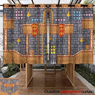 Sunnyhome Outdoor Grommet Top Curtain Panel Kids Retro Video Game Quest Fantasy Curtains for Living Room W 63