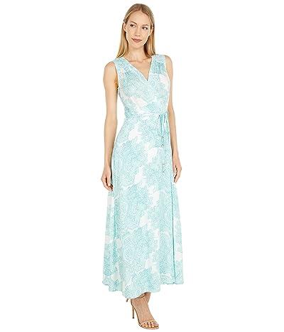 Calvin Klein Floral Print Tiered Dress with Tie Bodice Detail