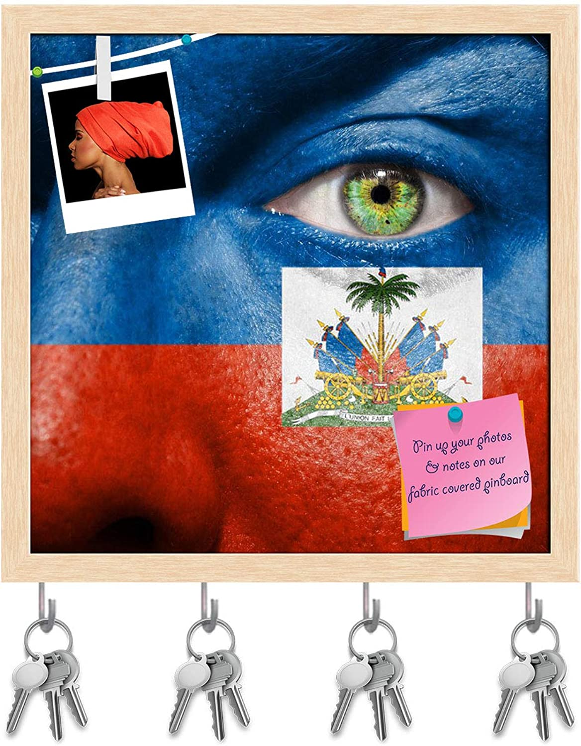 Artzfolio Haitian Flag Painted On A Face Key Holder Hooks   Notice Pin Board   Natural Brown Frame 20 X 20Inch