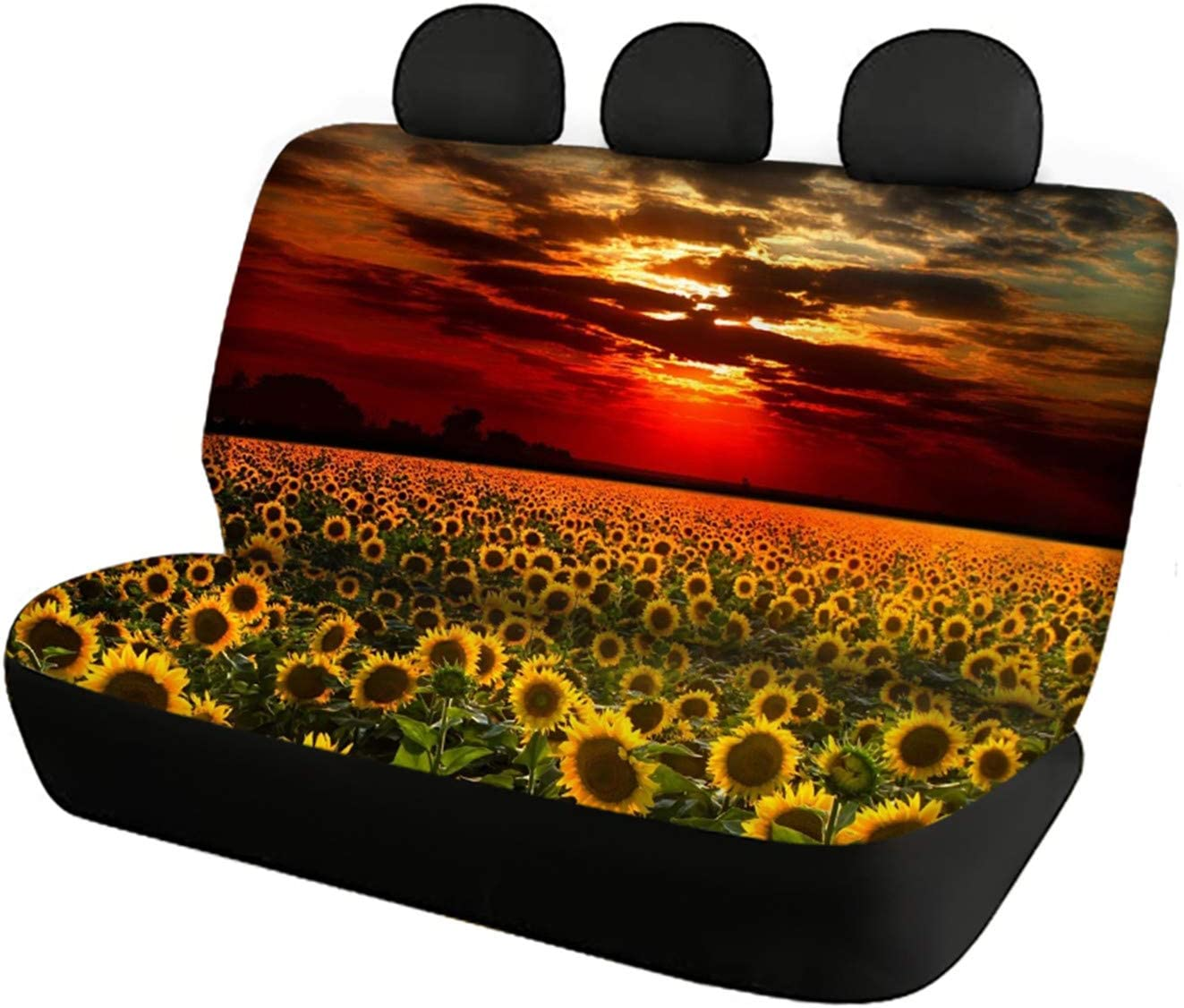 Belidome Vintage Flag Sunflower Design Seat Covers for Car Protector Soft Washable Stretch Universal