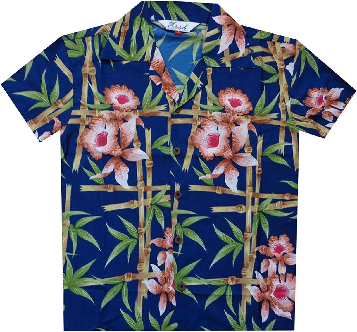 BOY/'S LOUD HAWAIIAN SHIRT BLUE WITH PARROTS SIZE 10-16 summer holiday party new