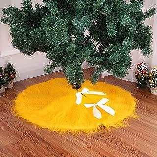 DotPet Christmas Tree Skirt, Xmas Santa Decorations Velvet Christmas Tree Skirt,30.7inch Round Luxury Faux Fur Tree Ornaments,Special for Christmas Holiday Festive Decor (Yelllow)